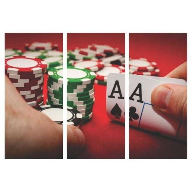 Quadro poker dupla de as decorativo
