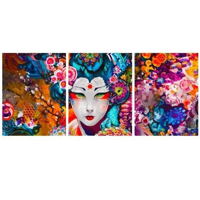 Quadro de gueixa oriental color decor