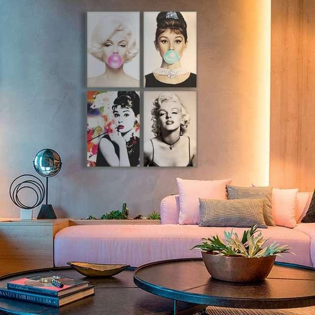 Quadro Marilyn Monroe e Audrey Hepburn divas