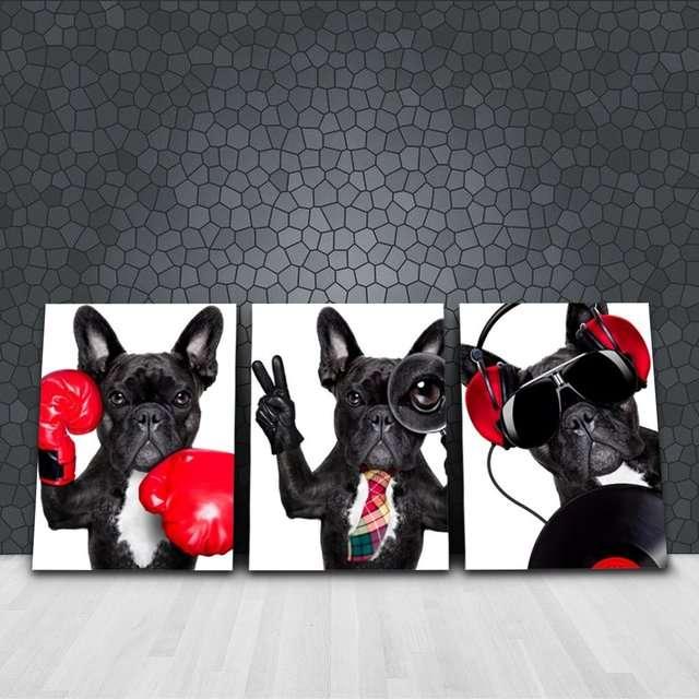 Quadros Buldog Cachorros Decorativo