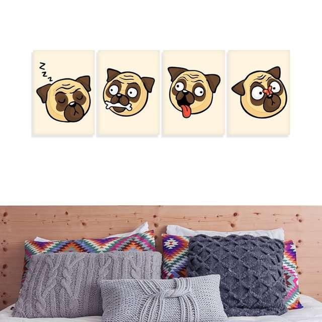 Quadros Dog Pets Pug Caras e Bocas decorativo