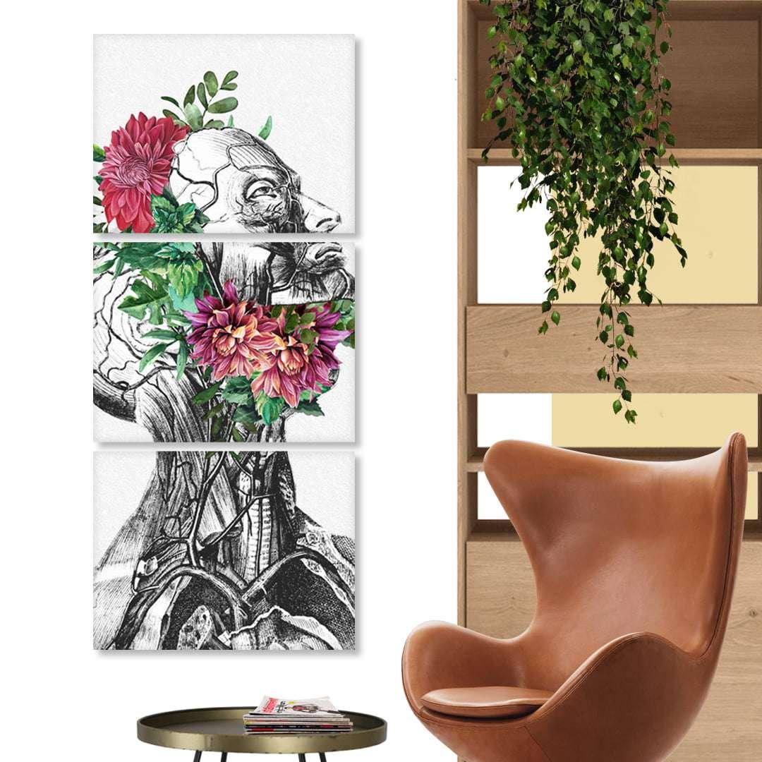 Quadro anatomia humana com flores