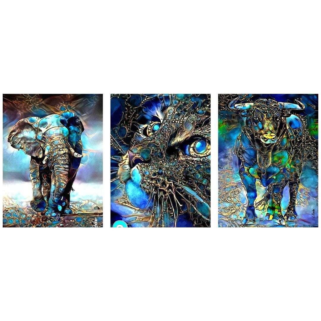 Quadro animais abstratos azul decorativo