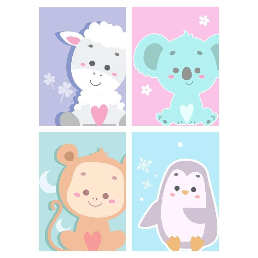 Quadro animais baby decorativo kit 1