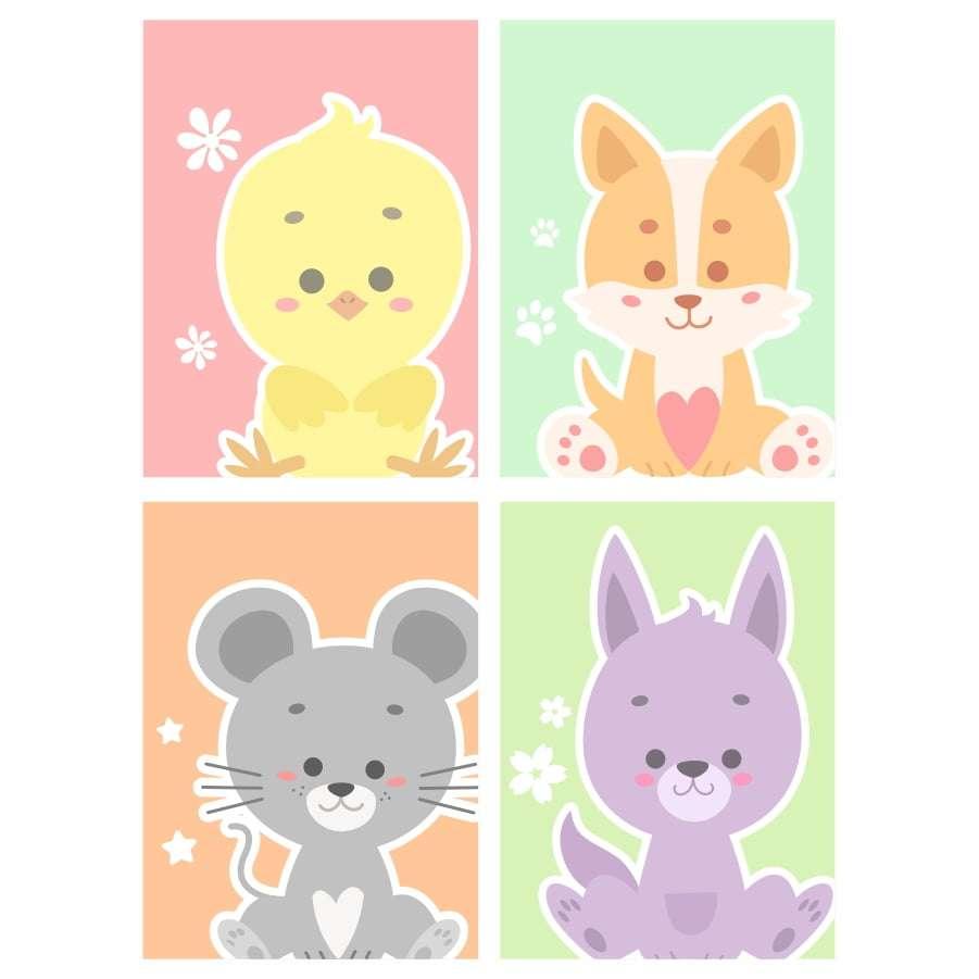 Quadro animais baby decorativo kit 2