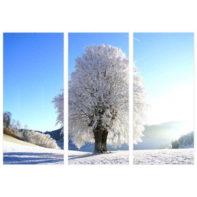 Quadro arvore inverno neve decorativa