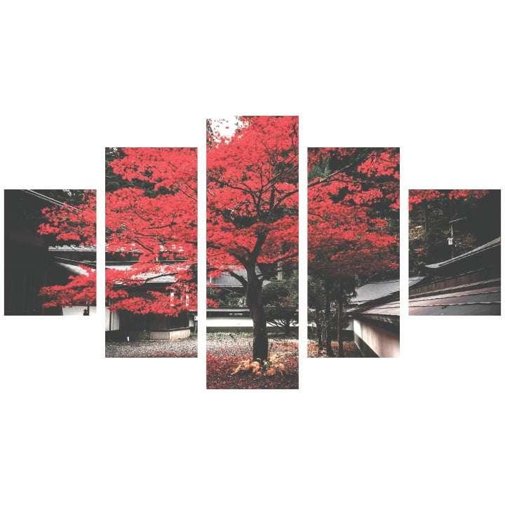 Quadro Arvore Folhas Vermelhas para Interiores