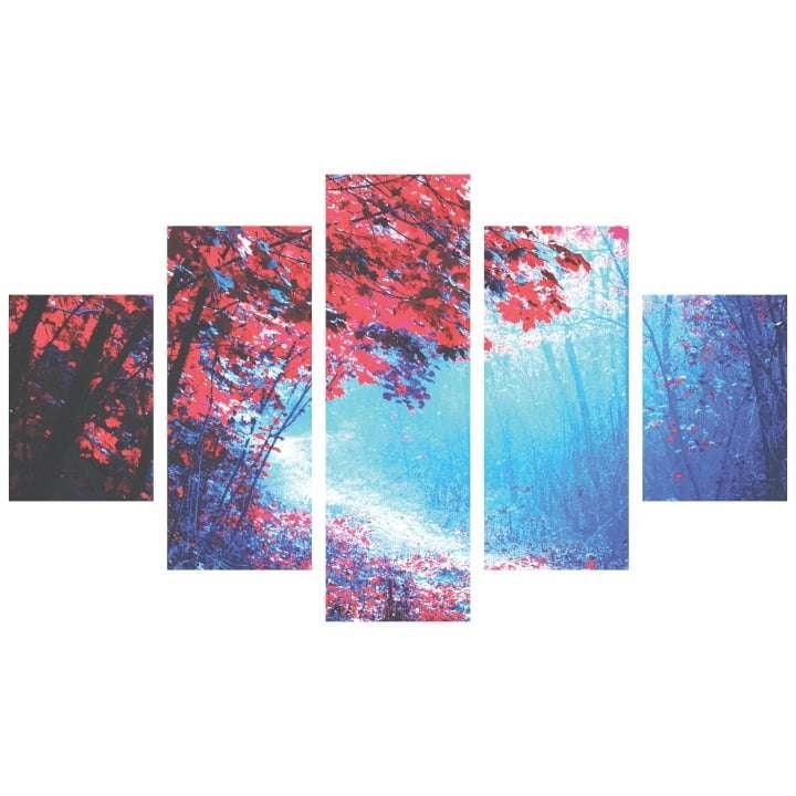 Quadro Arvore Vermelha Azul Decorativo