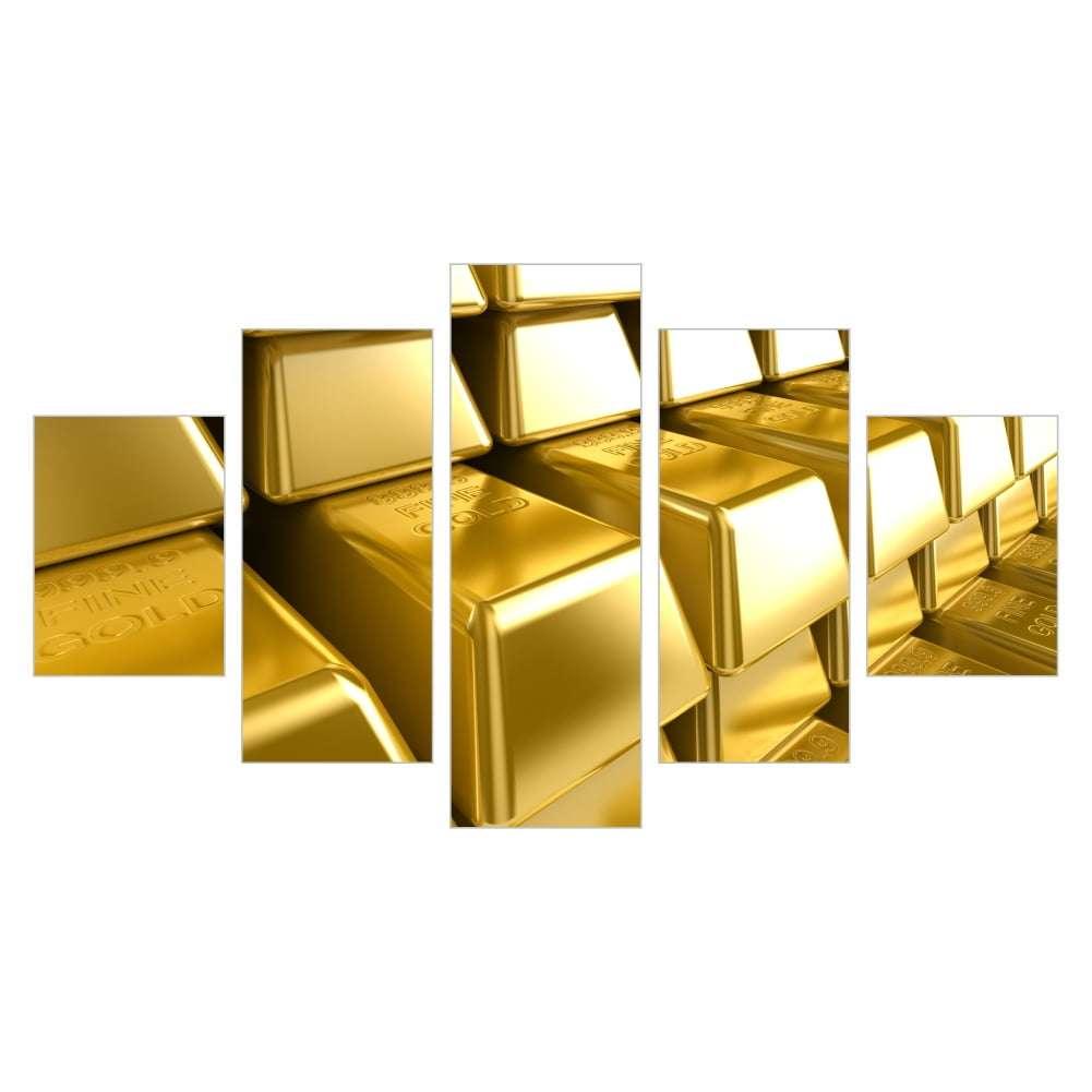 Quadro barras de ouro dinheiro decorativo