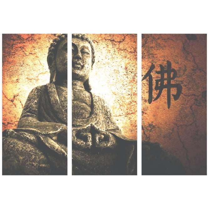Quadro Buda Oriental com Escrita Japonesa