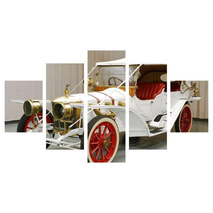 Quadro carro classico branco para decorar