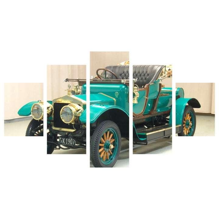 Quadro carro classico verde para decorar