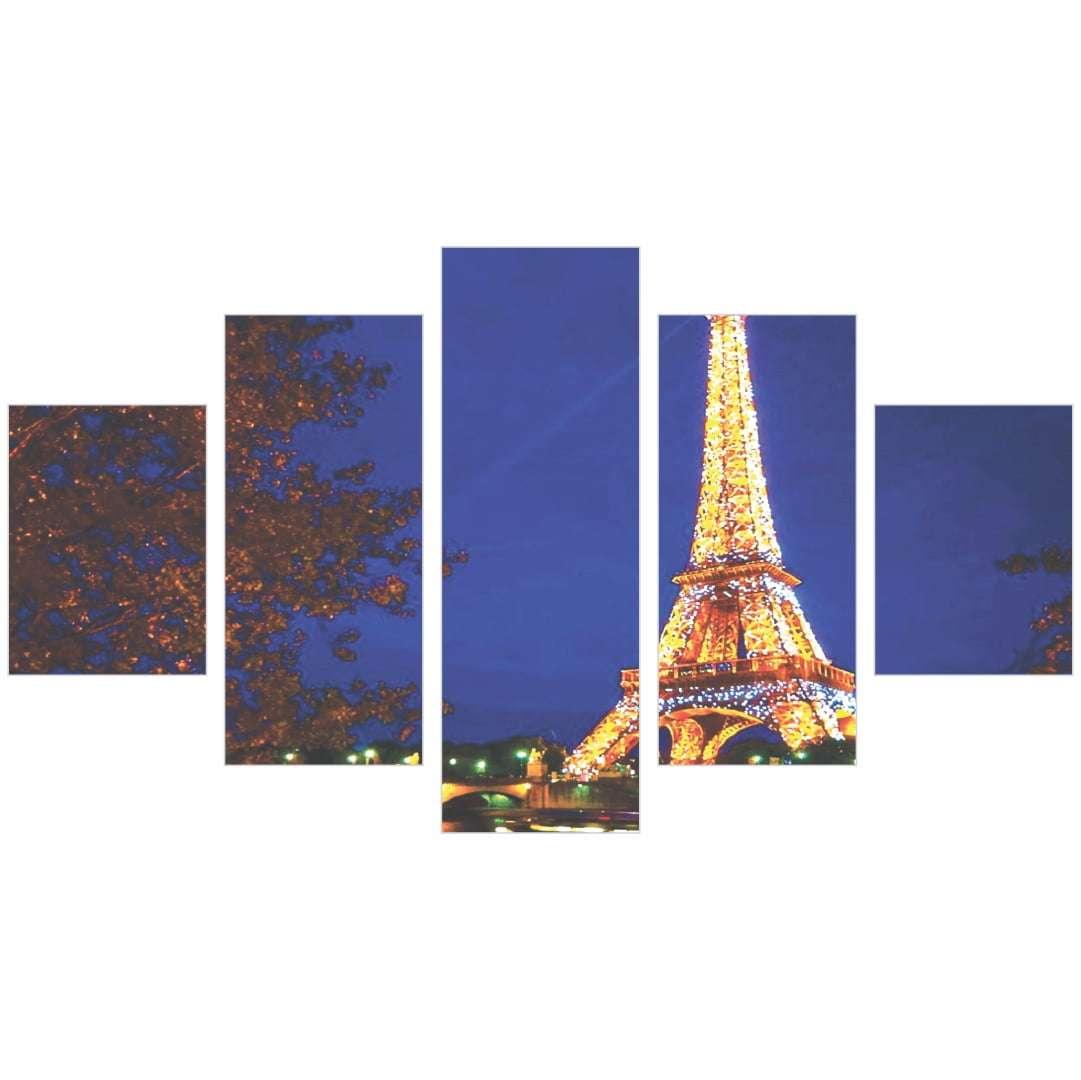 Quadro Torre Eiffel Iluminada França 5 peças