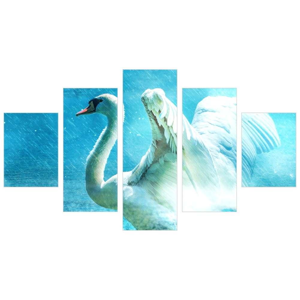 Quadro cisne branco lago decorativo