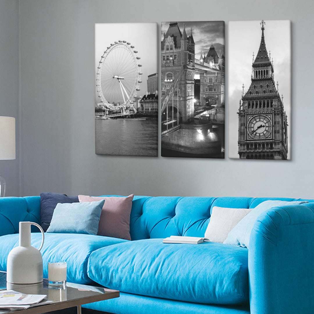 Quadro londres big ben, tower bridge e london eye