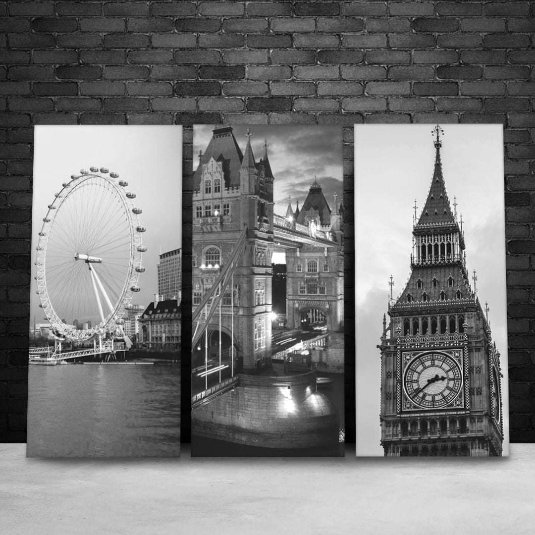 Quadro londres big ben, tower bridge e london eye