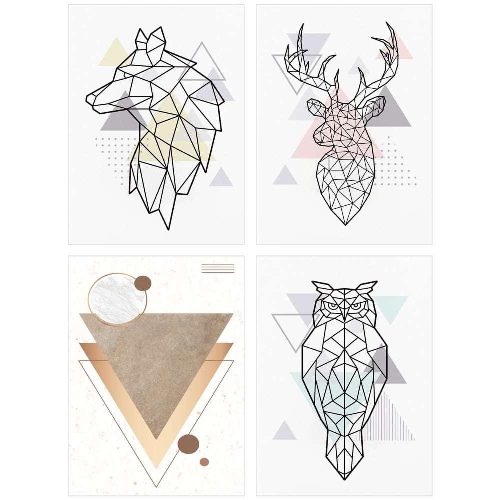 Quadro escandinavo kit animais poligonal decorativo