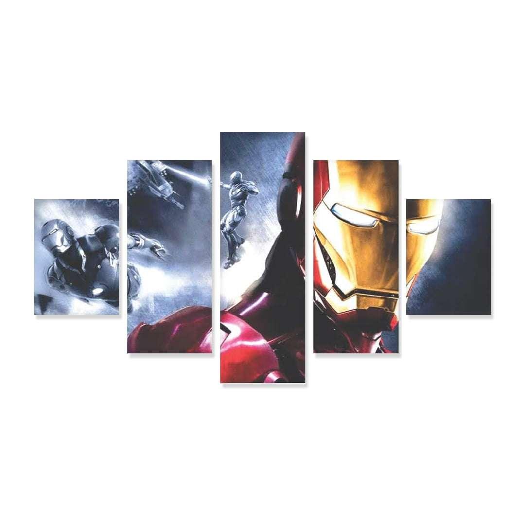Quadro Homem de Ferro Super Heroi 5 peças