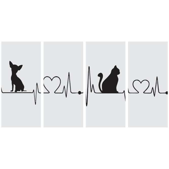 Quadro gato cachorro amor batimentos cardiacos cinza decorativo