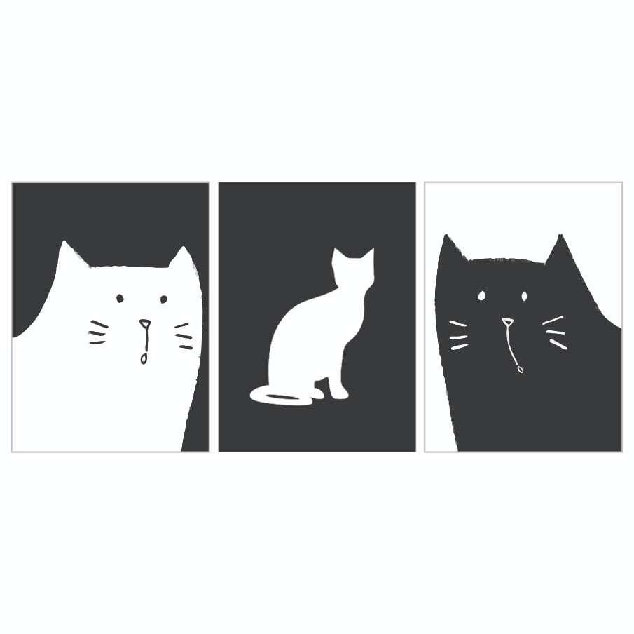 Quadro gatos meow para decoraçao