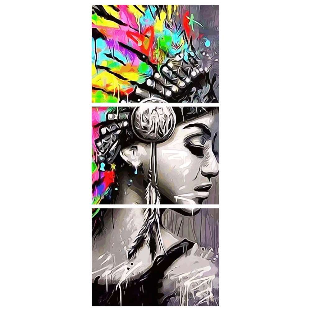 Quadro india nativa americana aquarela decorativo
