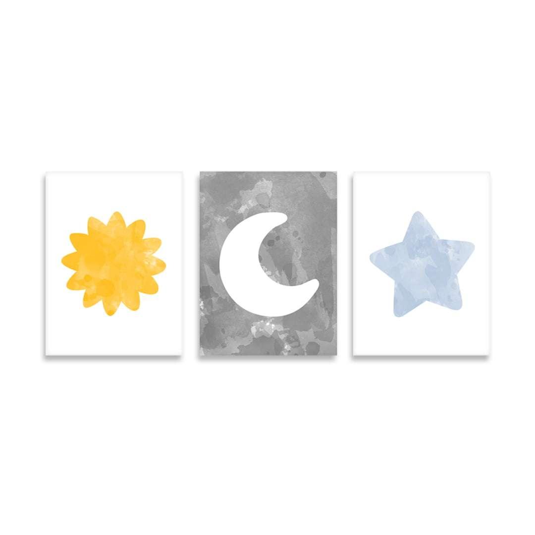 Quadro Infantil Astros Baby Sol Lua Estrela Decorativo