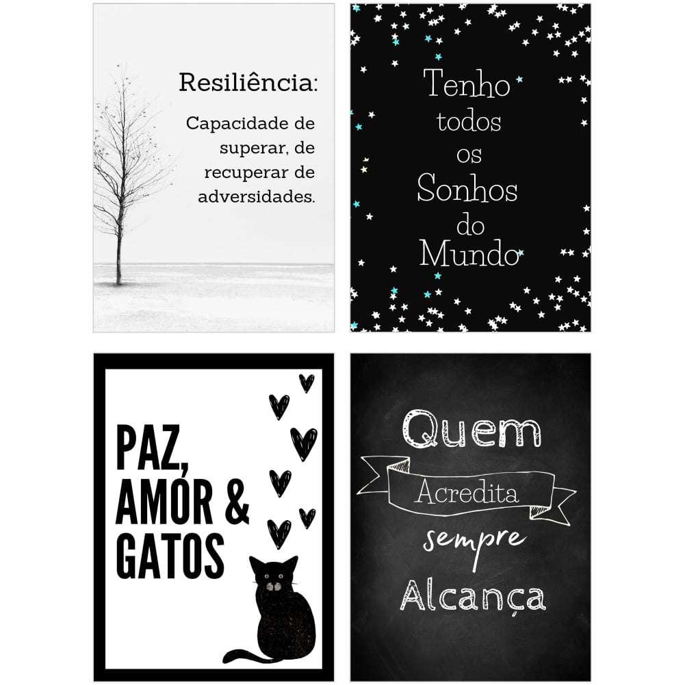 Quadro kit frases motivacionais paz gatos decorativo