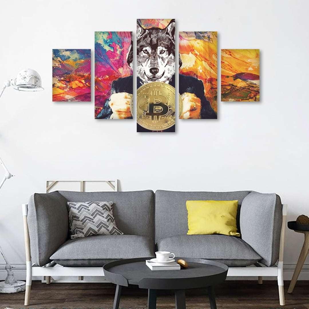 Quadro lobo wall street criptomoeda bitcoin