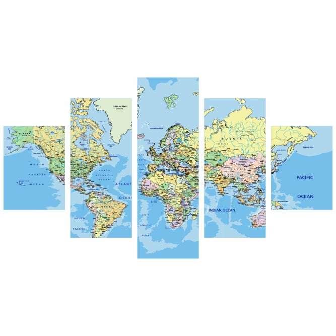 Quadro Mapa Mundi Mundo Tradicional
