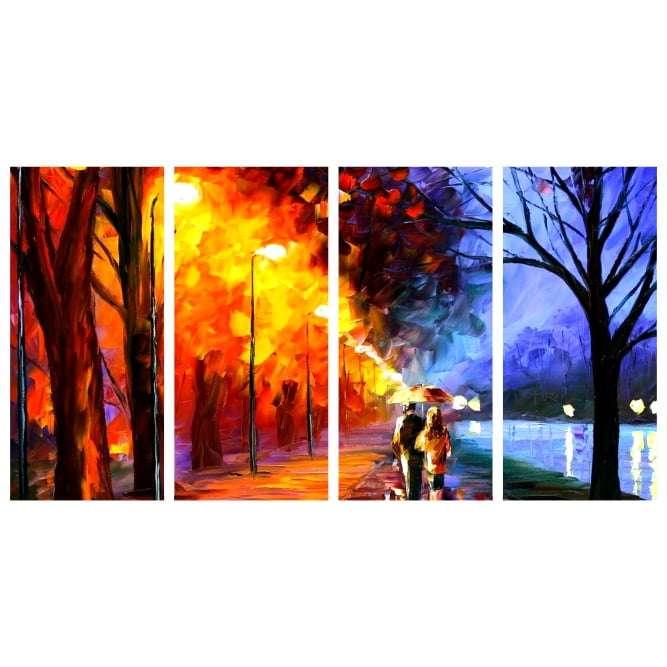Quadro paisagem abstrata com casal pint oil impresso