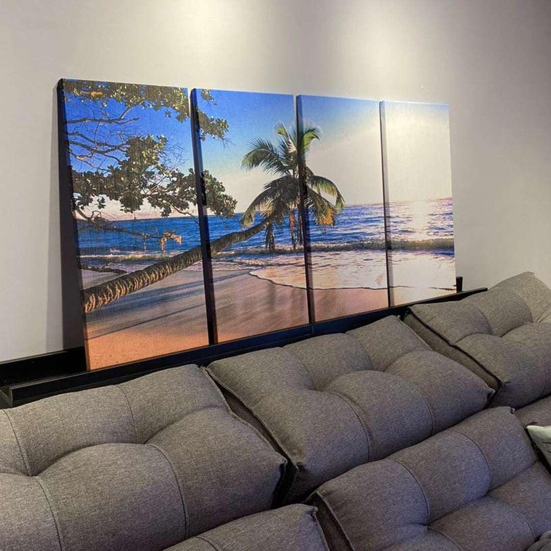 Quadro praia caribe palmeira decorativo