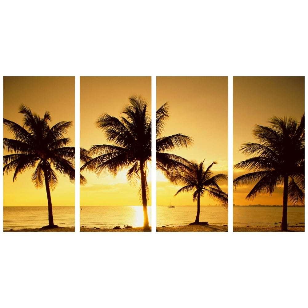 Quadro praia coqueiro por do sol para decorar
