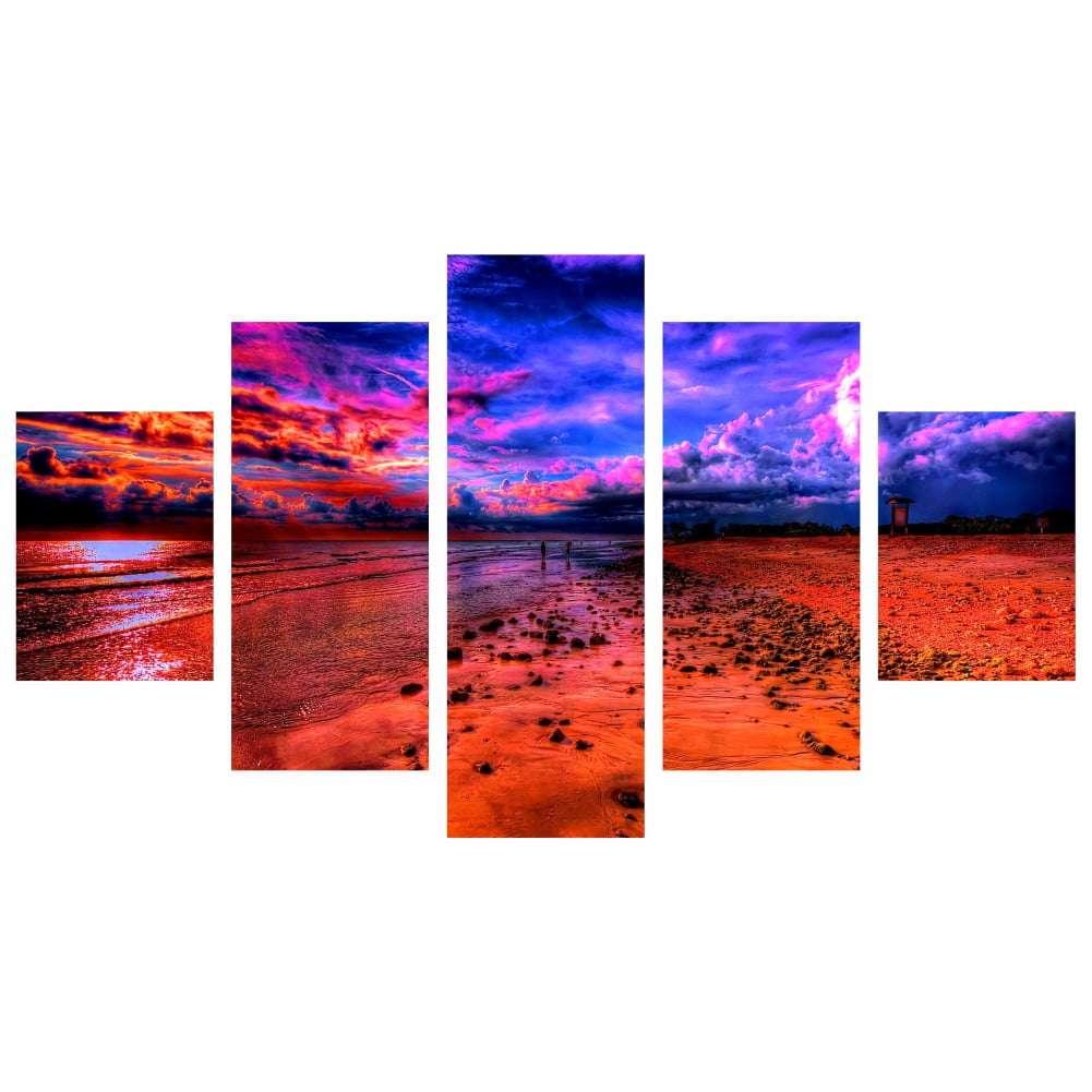 Quadro praia psicodélica full color decorativo