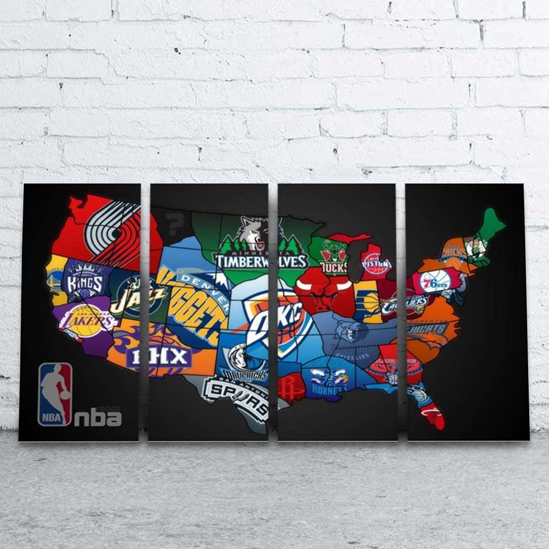 Quadro NBA Times De Basquete Decorativo