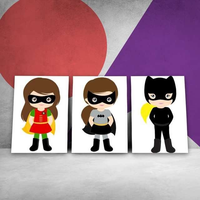 Quadros Super Heroínas infantil decorativo