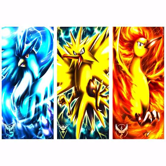Quadro Pokemon Articuno Zapdos Moltres Decorativo