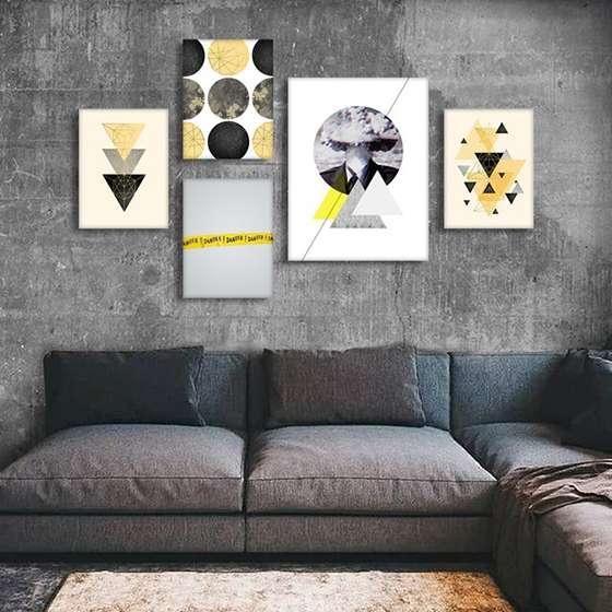 Quadros Escandinavos Geometrico Conjunto 5 peças