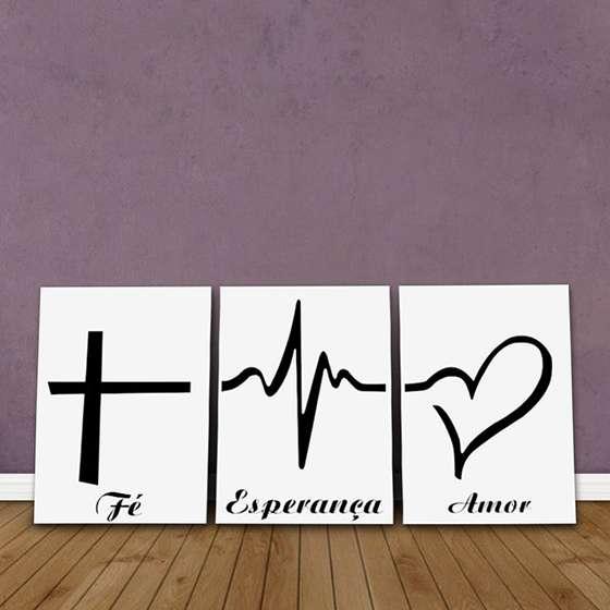 Quadros Fé Esperança Amor frases em Kit 3 unidades