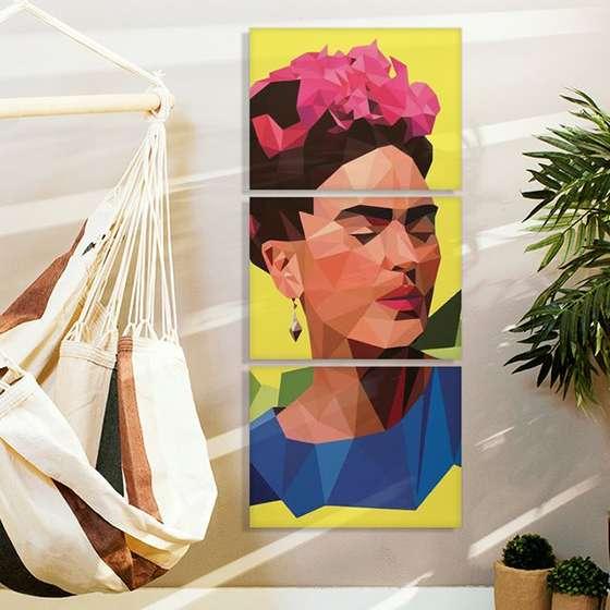 Quadro Frida Kahlo Colorido Geometrico decorativo