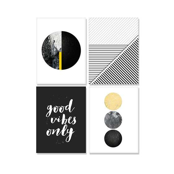 Quadros Escandinavos Good Vibes Kit 4 peças
