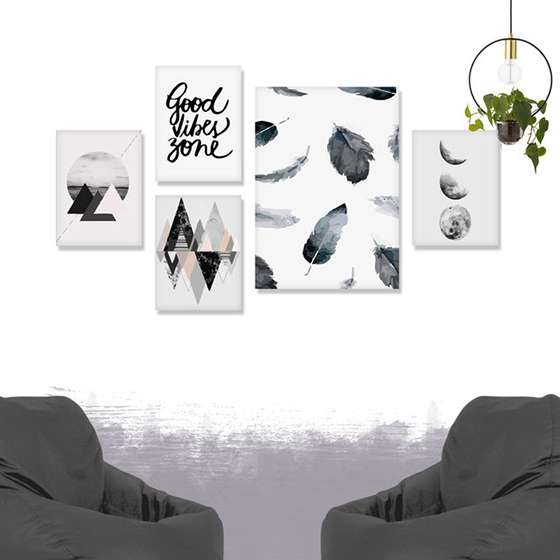 Quadros Escandinavos Good Vibes decorativo