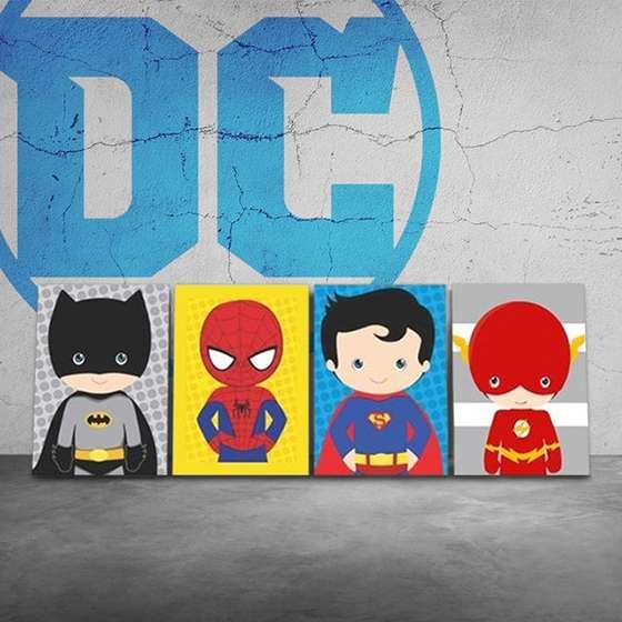Quadro Super Heróis Marvel Baby Batman Homem Aranha Super Homem Flash