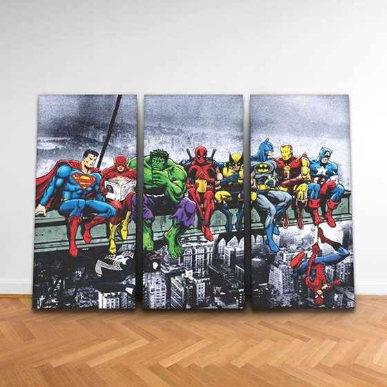 Quadro Super Herois Vingadores Operarios Marvel DC