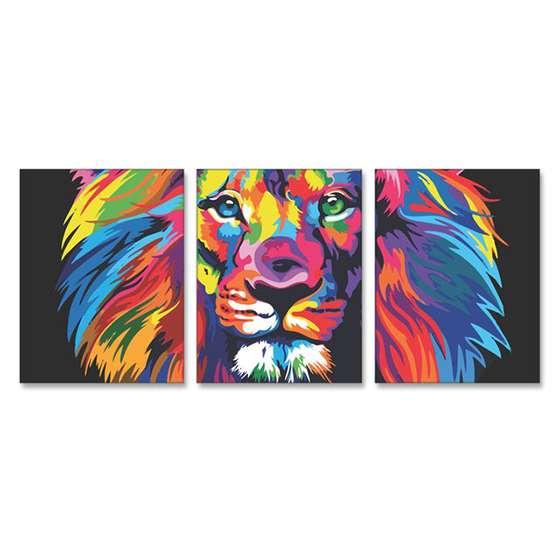 Quadro Leao colorido moderno em 3 peças horizontal