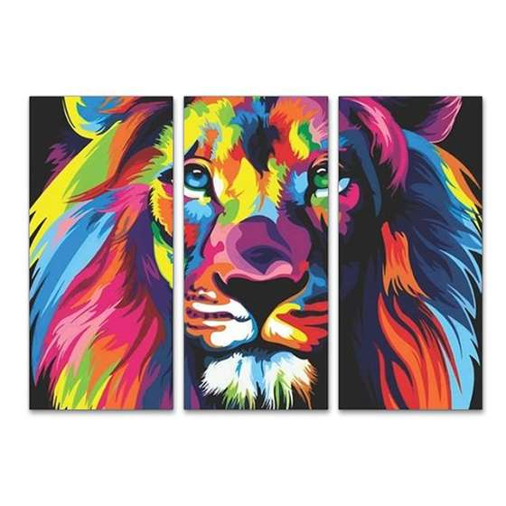 Quadro Leão colorido, conhecido como leao da tribo de juda. Ideal para Sala.