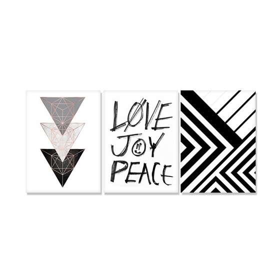 Quadros Escandinavos Amor Alegria Paz Decorativo
