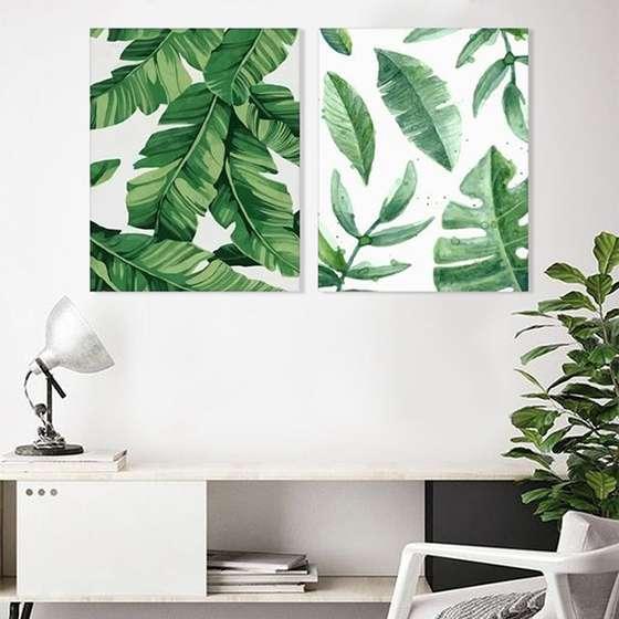 Quadro Plantas Verdes Decorativo Conjunto 2 Telas