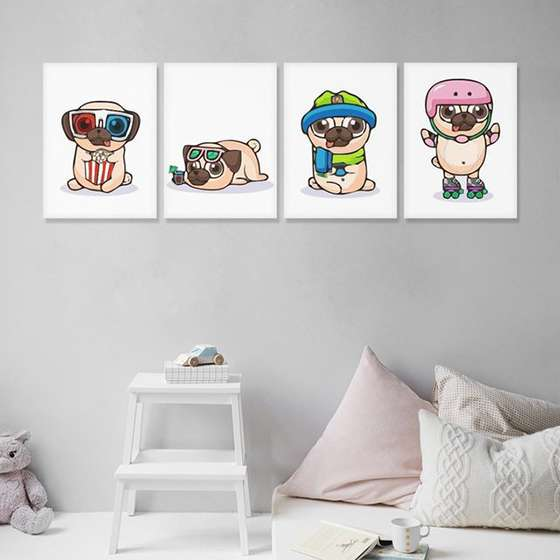 Quadros Dog Pets Pug Divertido