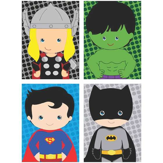 Quadro Super Heróis Marvel Baby Thor Super Homem Batman Hulk