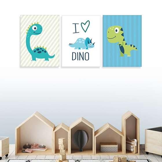 Quadro dinossaouros infantil i love dino